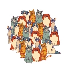 Group cats isolate on white vector image