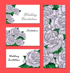 Hand Drawn Wedding Rose Invitation vector image