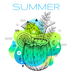 hello summer memphis poster with hand drawn vector image