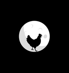 hen and moon design vector image