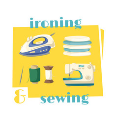 Ironing and sewing household chores cartoon icon vector