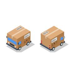 isometric small cargo delivery van van vector image