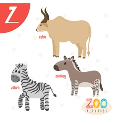 Letter Z Cute animals Funny cartoon animals in vector image
