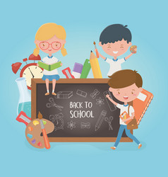 little students group with chalkboard and school vector image