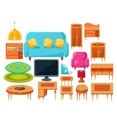 Living Room Interior Elements Set vector