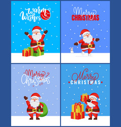 merry christmas collection cards with happy santa vector image