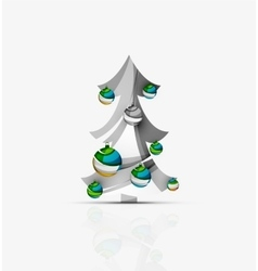 Merry Christmas decorated tree with glossy balls vector image