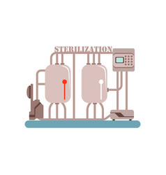 Milk sterilization equipment production of milk vector