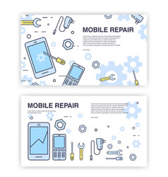 Mobile phone repair banners with smartphone and vector