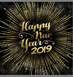 new year 2019 greeting card gold firework vector image