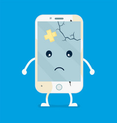 old sad broken phone with cracks and scratches vector image