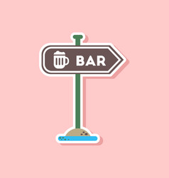 paper sticker on stylish background sign of bar vector image vector image