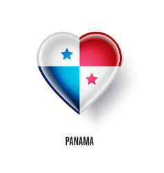 patriotic heart symbol with panama flag vector image