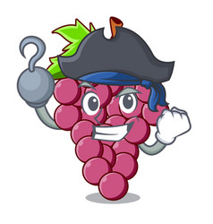 pirate red grapes fruit in cartoon shape vector image
