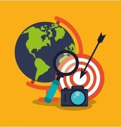 Planet and digital marketing design vector