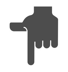 Pointing down hand solid icon direction down vector