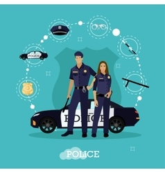 Police man and woman stay next to car Concept vector