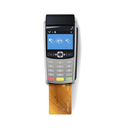 pos terminal with credit card vector image