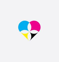 print heart cmyk logo icon symbol element vector image