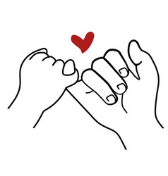 promise outline with red heart sign icon vector image