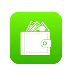 purse with money icon digital green vector image