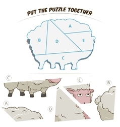Puzzle game for chldren sheep vector