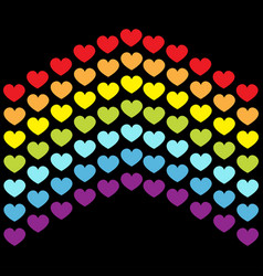 rainbow flag line backdrop heart shape lgbt gay vector image
