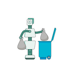 robot doing housework - android taking out trash vector image