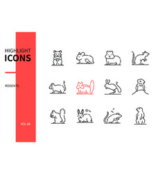rodents - modern line design style icons set vector image