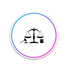 scales of justice gavel and book icon isolated on vector image