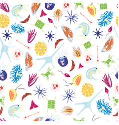Sea plankton organisms - seamless pattern with vector