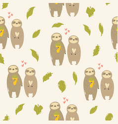 seamless pattern with cute sloths in love vector image