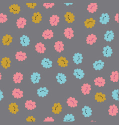 seamless pattern with kawaii flowers vector image