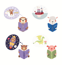 Set cute reading animals vector