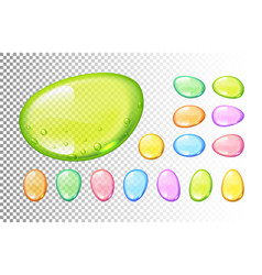 Set of colorful candy drops on transparent vector