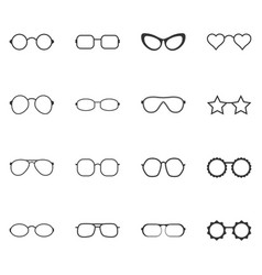 set of glasses and sunglasses icons vector image