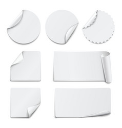 Set of white paper stickers on white background vector image