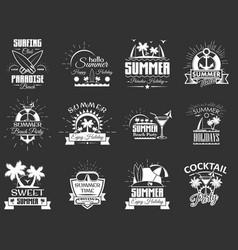 set vintage summertime labels emblems vector image