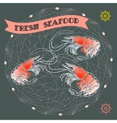 Silhouette shrimp helms rope net vector image