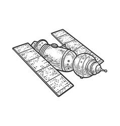 Space satellite telescope sketch vector