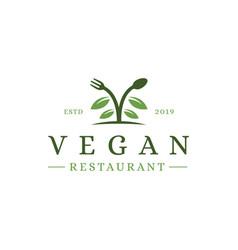 spoon fork leaf organic food vegan restaurant vector image