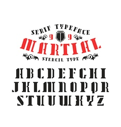 Stock set of serif stencil plate font vector