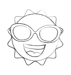 Summer sun with sunglasses kawaii character vector