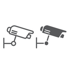 surveillance camera line and glyph icon guard vector image