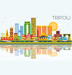 tripoli skyline with color buildings blue sky and vector image