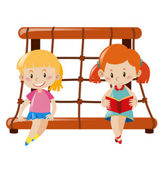 Two girls sitting on rope climbing station vector