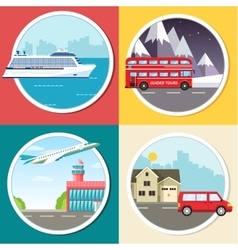 Variations transport of travel vacation tour vector