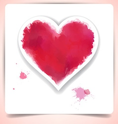 Watercolor heart over paper sheet vector
