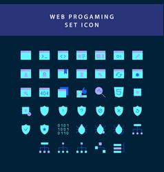 web programing flat style design icon set vector image