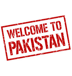 welcome to pakistan stamp vector image